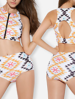 cheap -Women's Two Piece Swimsuit Swimwear Breathable Quick Dry Sleeveless Front Zip - Swimming Water Sports 3D Print Summer / Stretchy