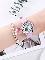 cheap -Girls' Quartz Watches Cartoon Fashion White Pink PU Leather Chinese Quartz White Blushing Pink Chronograph Cute Creative 2 Piece Analog One Year Battery Life