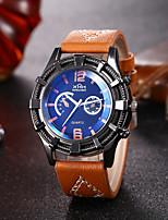 Недорогие -Муж. Спортивные часы Кварцевый Искусственная кожа Черный / Шоколадный Секундомер Новый дизайн Повседневные часы Аналоговый Классика Мода - Черный Кофейный