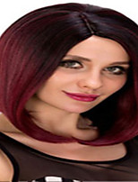 cheap -Synthetic Wig kinky Straight Asymmetrical Wig Short Burgundy Synthetic Hair 12 inch Women's Fashionable Design Classic Women Burgundy