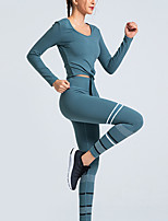 cheap -Women's 2pcs Tracksuit Yoga Suit 3D Print ArmyGreen Green Gray Running Fitness Gym Workout High Waist Tee / T-shirt Tights Leggings Long Sleeve Sport Activewear Breathable Tummy Control Butt Lift