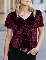 Недорогие -женская повседневная свободная футболка размера eu / us - сплошное цветное вино с v-образным вырезом