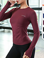 cheap -Women's Yoga Top Solid Color Black Burgundy Pink Blue Gray Running Fitness Gym Workout Tee / T-shirt Long Sleeve Sport Activewear Breathable Quick Dry Comfortable Stretchy