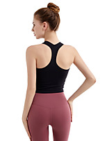 cheap -Women's Crop Top Racerback Fashion White Black Pink Green Gray Elastane Yoga Running Fitness Vest / Gilet Top Sport Activewear Breathable Quick Dry Comfortable Stretchy