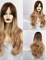 cheap -Synthetic Wig Curly Matte Middle Part With Bangs Wig Long Light Blonde Synthetic Hair 28 inch Women's Exquisite curling Blonde