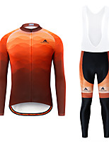 cheap -Miloto Men's Long Sleeve Cycling Jersey with Bib Tights White Black Bike Breathable Sports Patterned Mountain Bike MTB Road Bike Cycling Clothing Apparel / Stretchy