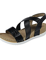 cheap -Women's Sandals Flat Sandal Spring & Summer Flat Heel Round Toe Daily PU Black / Gold / Silver