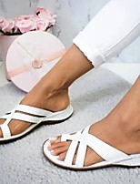 cheap -Women's Sandals Flat Sandal Summer Flat Heel Open Toe Daily PU Light Brown / White / Yellow