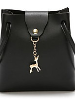 cheap -Women's Zipper PU Leather Top Handle Bag Leather Bags Solid Color Wine / White / Black
