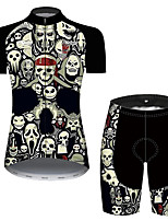 cheap -21Grams Women's Short Sleeve Cycling Jersey with Shorts Black / White Skull Bike Breathable Quick Dry Sports Patterned Mountain Bike MTB Road Bike Cycling Clothing Apparel / Micro-elastic