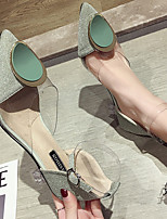 cheap -Women's Heels Spring & Summer Flared Heel Pointed Toe Daily Solid Colored PU Almond / Green