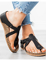 cheap -Women's Sandals Flat Sandal Summer Flat Heel Open Toe Daily PU Black / Brown