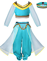 cheap -Princess Princess Jasmine Cosplay Costume Outfits Girls' Movie Cosplay Cosplay Halloween Blue Top Pants Headwear Children's Day Masquerade Tulle Polyester