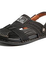 cheap -Men's Summer Casual Daily Sandals Cowhide / PU Non-slipping Black / Khaki