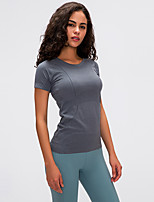 cheap -Women's Yoga Top Solid Color White Black Purple Light Purple Dusty Rose Elastane Running Fitness Gym Workout Tee / T-shirt Top Short Sleeve Sport Activewear Breathable Quick Dry Comfortable Stretchy