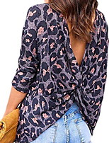 cheap -Women's Leopard Blouse Daily Blushing Pink