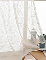 cheap -Two Panel Modern Minimalist Style Stripe Embroidery Gauze Living Room Bedroom Den Window Screen