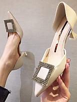cheap -Women's Heels Summer Stiletto Heel Pointed Toe Sexy Daily Microfiber Black / Khaki / Light Blue