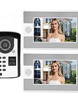 Недорогие -7-дюймовый проводной видеодомофон домашний домофон с функцией разблокировки паролем отпечатка пальца p812fd12