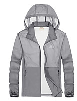 cheap -Men's Hiking Skin Jacket Hiking Jacket Summer Outdoor Waterproof Windproof Sunscreen Breathable Jacket Hoodie Top Running Hunting Fishing White / Army Green / Grey / Blue / Royal Blue / Quick Dry