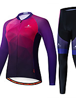cheap -Miloto Women's Long Sleeve Cycling Jersey with Tights Black / Red Bike Breathable Sports Patterned Mountain Bike MTB Road Bike Cycling Clothing Apparel / Stretchy