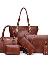 cheap -Women's Zipper / Chain PU Bag Set Bag Sets Geometric Pattern 6 Pieces Purse Set Black / Red / Green / Fall & Winter
