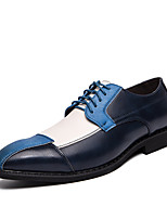 cheap -Men's Summer / Fall Classic / British Daily Office & Career Oxfords Faux Leather Non-slipping Wear Proof Blue / Brown / Gray Color Block