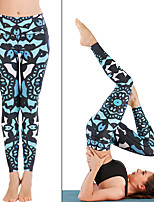 cheap -Women's High Waist Yoga Pants Print Blue Running Fitness Gym Workout Tights Leggings Sport Activewear Quick Dry Butt Lift Tummy Control Stretchy Skinny