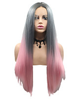 cheap -Synthetic Lace Front Wig Straight Matte Layered Haircut Lace Front Wig Pink Medium Length Pink / Grey Synthetic Hair 22-26 inch Women's Party Women Pink Gray Sylvia