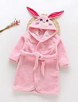 cheap -Kid's Kigurumi Pajamas Bathrobe Oodie Rabbit Bunny Onesie Pajamas Flannel Fabric White / Yellow / Pink Cosplay For Boys and Girls Animal Sleepwear Cartoon Festival / Holiday Costumes / Bath Robe