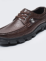 cheap -Men's Summer Casual Daily Oxfords Nappa Leather / PU Black / Khaki / Brown