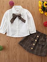 cheap -Toddler Girls' Basic Cotton Print Long Sleeve Regular Regular Clothing Set White