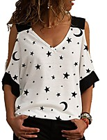 cheap -Women's Geometric T-shirt Daily V Neck White