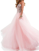 cheap -A-Line Sparkle Pink Engagement Formal Evening Dress Strapless Sleeveless Floor Length Chiffon with Pleats Sequin 2020