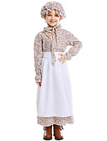 cheap -Maid Costume Dress Hat Flower Girl Dress Girls' Movie Cosplay A-Line Slip White Dress Apron Hat Children's Day Masquerade Cotton / Polyester