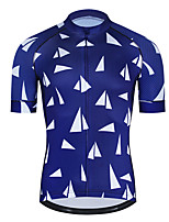 cheap -21Grams Men's Short Sleeve Cycling Jersey Polyester Blue / White Bike Jersey Top Mountain Bike MTB Road Bike Cycling UV Resistant Breathable Quick Dry Sports Clothing Apparel / Stretchy / Race Fit