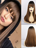 cheap -Synthetic Wig Matte Natural Straight Middle Part Neat Bang Wig Long Brown Synthetic Hair 20 inch Women's Adorable Waterfall Brown