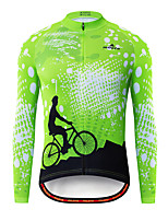 cheap -Miloto Men's Long Sleeve Cycling Jersey Black / Green Bike Jersey Top Mountain Bike MTB Road Bike Cycling Breathable Quick Dry Sports Clothing Apparel / Stretchy