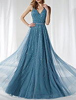 cheap -A-Line Elegant Sparkle Prom Formal Evening Dress V Neck Sleeveless Floor Length Tulle Sequined with Sash / Ribbon Sequin 2020