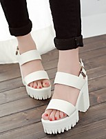cheap -Women's Sandals Heel Sandals Summer Creepers Open Toe Daily PU White / Black