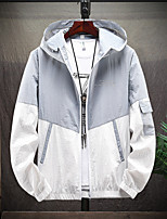 cheap -Men's Hiking Skin Jacket Hiking Jacket Summer Outdoor Windproof Sunscreen Breathable Quick Dry Jacket Top Elastane Single Slider Running Hunting Fishing White / Black / Red / Grey / Green