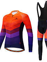 cheap -Miloto Women's Long Sleeve Cycling Jersey with Bib Tights White Black Bike Breathable Sports Patterned Mountain Bike MTB Road Bike Cycling Clothing Apparel / Stretchy