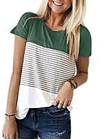 cheap -Women's Color Block T-shirt Daily Wine / Green