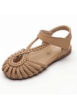 cheap -Girls' Comfort PU Sandals Flat Sandals Little Kids(4-7ys) / Big Kids(7years +) Braided Strap White / Brown Summer / Fall / Rubber