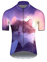 cheap -21Grams Men's Short Sleeve Cycling Jersey Polyester Violet Galaxy Cat Animal Bike Jersey Top Mountain Bike MTB Road Bike Cycling Breathable Quick Dry Ultraviolet Resistant Sports Clothing Apparel