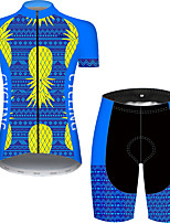 cheap -21Grams Women's Short Sleeve Cycling Jersey with Shorts Black / Blue Bike Breathable Quick Dry Sports Patterned Mountain Bike MTB Road Bike Cycling Clothing Apparel / Micro-elastic