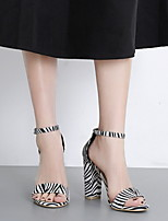 cheap -Women's Sandals Spring & Summer Chunky Heel Round Toe Daily PU Black / White / Leopard