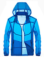 cheap -Men's Hiking Skin Jacket Hiking Jacket Summer Outdoor Waterproof Sunscreen Breathable Quick Dry Jacket Hoodie Top Running Hunting Fishing White / Grey / Sky Blue / Dark Blue / Ultraviolet Resistant