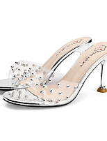 cheap -Women's Heels Summer Pumps Open Toe Daily Outdoor PVC Champagne / Silver / Clear / Transparent / PVC