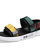 cheap -Men's Summer Classic / British Daily Outdoor Sandals Walking Shoes Canvas Breathable Wear Proof Black / Rainbow
